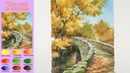 Landscape Watercolor- The road to autumn (wer-in-wet, Arches rough)NAMIL ART
