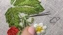 Ягоды и цветы. Вторая часть. Вышиваем листья клубники. Петельный шов. Игольное плетение.