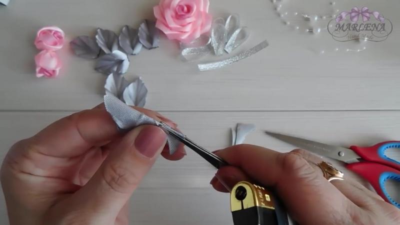 Роза канзаши 🌹. Нарядная заколка с букетиком роз МК-DIY 👐