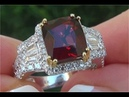 GIA Certified UNHEATED Natural FLAWLESS Red Spinel Diamond 14k White Yellow Gold Estate Ring - C902