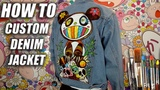 How To Custom Paint a Denim Jacket! Murakami x Kanye West Tutorial DIY