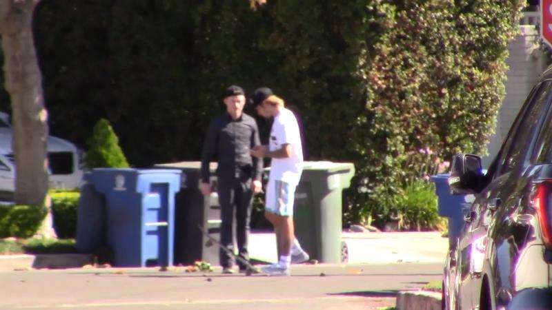 Video of Justin skateboarding in Los Angeles, California. (October 15)
