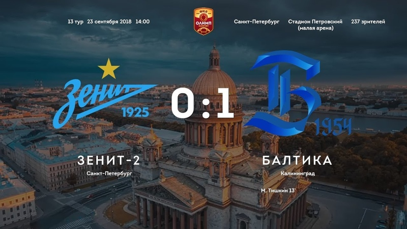 Первенство ФНЛ 2018/2019, 13 тур. Зенит-2 - Балтика 0:1 (0:1)