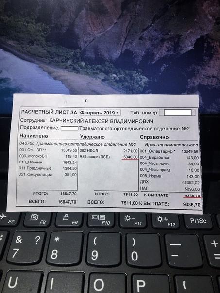 Врач поделился в сети реальными зарплатами своих коллег. Алексей Карчинский, который работает в тольяттинской городской клинической больнице 5 опубликовал в сети фотографии расчетных листов со