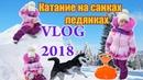 Vlog.Горка.Катание на санках ледянках. Хаски рады зиме.Видео для детей.