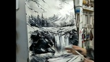 KNIFE PAINTING WATERFALL IN THE MOUNTAINS (SPEED PAINTING by Nelly Lestrade)