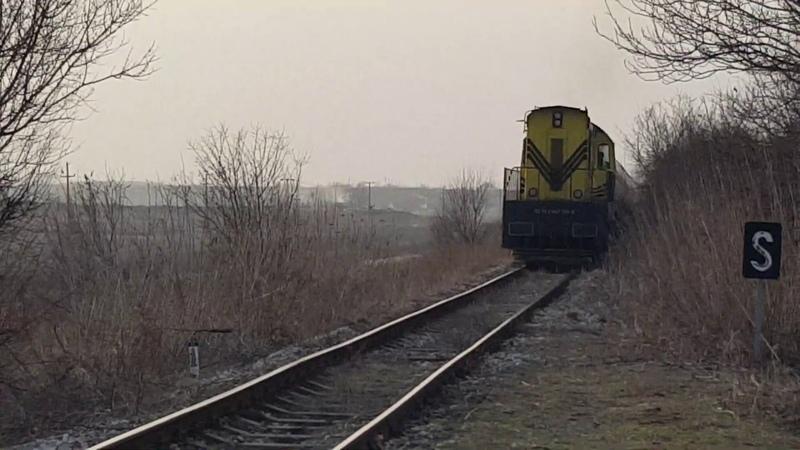 Kombinovani Prevoz lokomotiva 667-100 prolazi stajalište Donji Titel - Titel, 09. februar 2019.