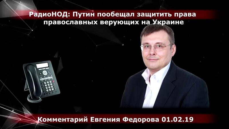 Путин пообещал защитить права православных верующих на Украине. Комментарий Е.А. Фёдоров