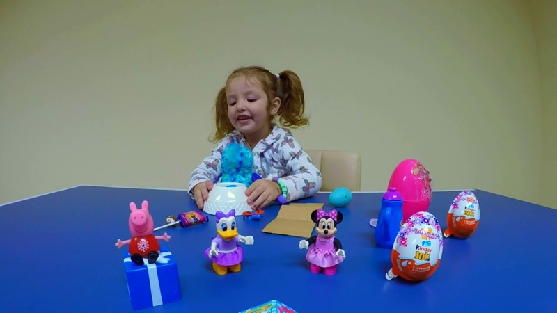 Unwrapping Barbie Surprise, Kinder Joy Surprises. Mini Mouse, Daisy Duck, and Peppa Pig