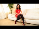Carla Hot brunette bitch Latex mini dress Pantyhose stockings legs Strip tease Секси брюнетка в красном мини платье Чулки Латекс