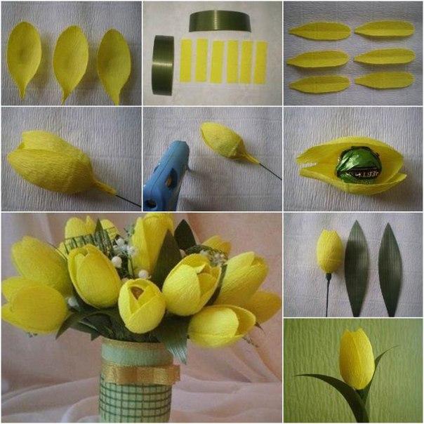 Цветы из бумаги и конфет своими руками для начинающих