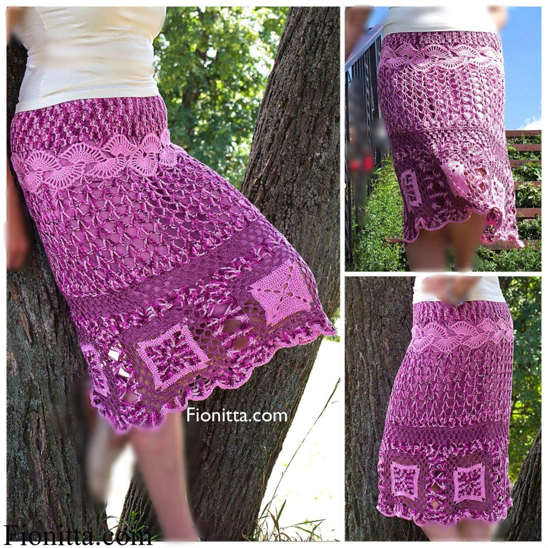 Прямая вязаная юбка крючком из квадратов, схема вязания 85