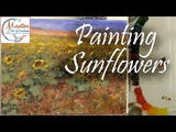 How to Paint Sunflowers 9x12 Fast Motion w Voice Instruction