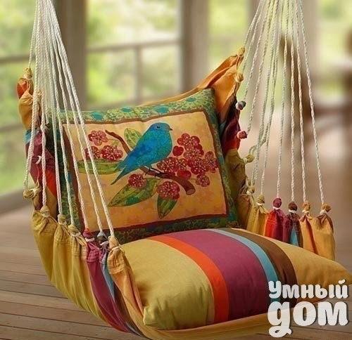 Симпатичный гамак своими руками! Все, что Вам потребуется - 2 подушки и немного умения :) Умный дом — мастерская чудес!