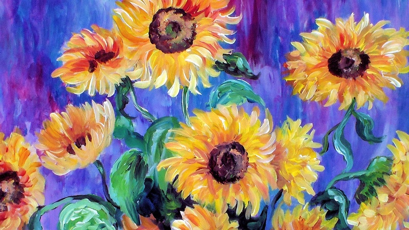 How to Paint Monet's Sunflowers in Acrylic Using a Guided Canvas System Paint Like Pablo