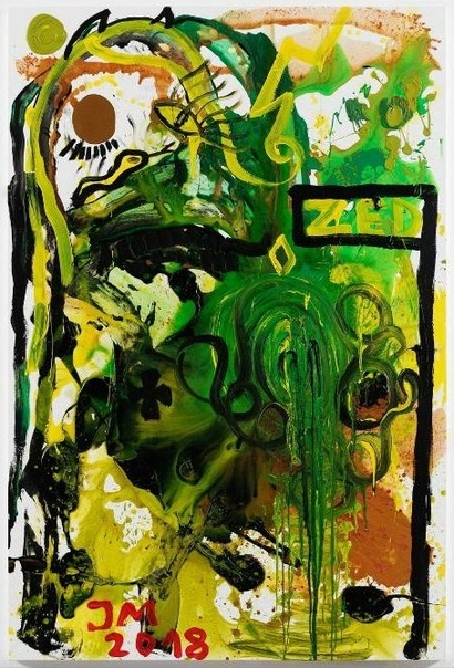 Jonathan Meese / Йонатан Мезе (1970, Токио). FERMENTIERTES HERZBLUT .U.N.ST., 2018 Acrylic on canvas 210 × 140 сm