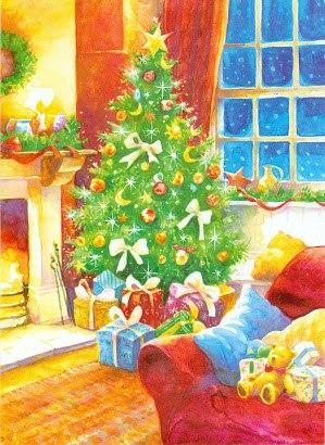 новорічна ялинка на новорічній листівці