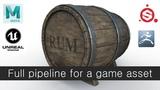 Old barrel.Full pipeline for a game asset.