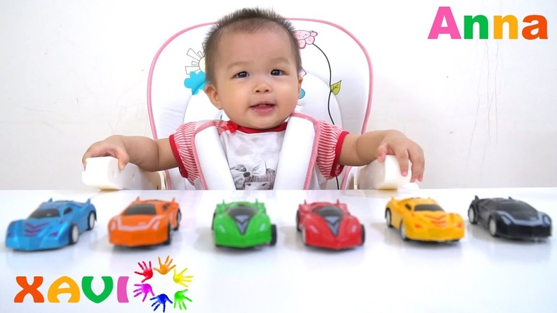 Little baby Anna learns colors with Colorful Cars toys - Colours for kids to learn - Xavi ABCKids