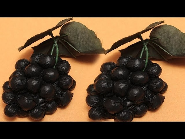 Best Out Of Waste Idea Handmade Grapes Decoration Using Plastic Bag DIYCrafts