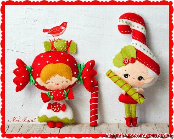 Новогодние игрушки из фетра (10 фото) - картинка