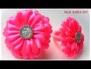 Простые цветы из ленты/ Канзаши/ DIY Kanzashi Flowers/ Ribbon Flowers Tutorial/ Ola ameS DIY