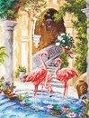 """Наборы для вышивания крестом Купить  """"Розовые фламинго """" от Чудесная игла - Животные."""