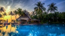 Картинка лето. Курорт, бассейн, океан, пальмы, бунгало. Billede sommer. Resort, pool, hav, palmer
