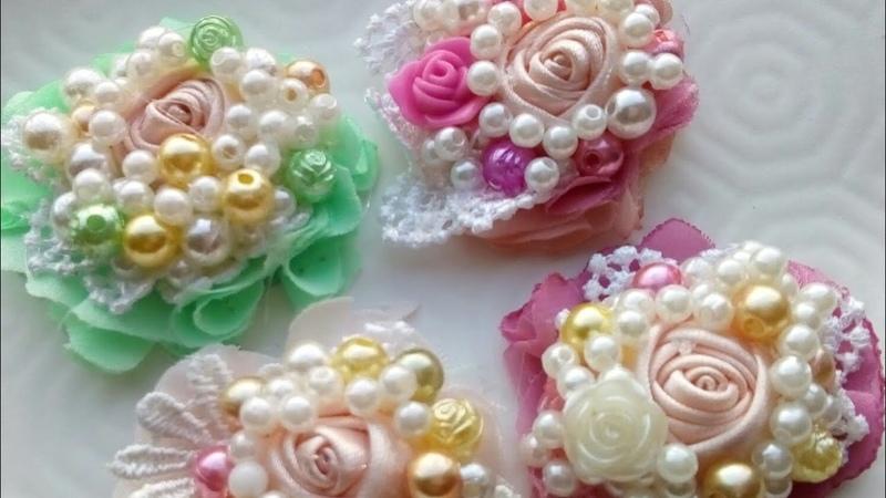 CENTROS VINTAGE ELEGANTES/ PERLAS Y PEDRERIA/ цветы ручной работы/ silkflowers