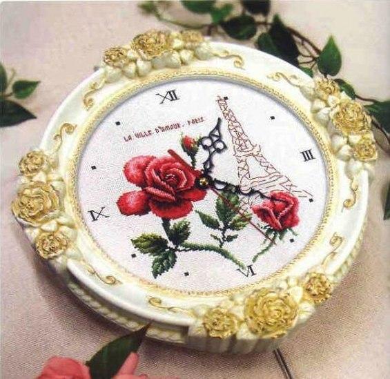 Часы-*Париж*...схема вышивки.