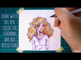 как рисовать кудрявые мультяшные волосы акварельными карандашами