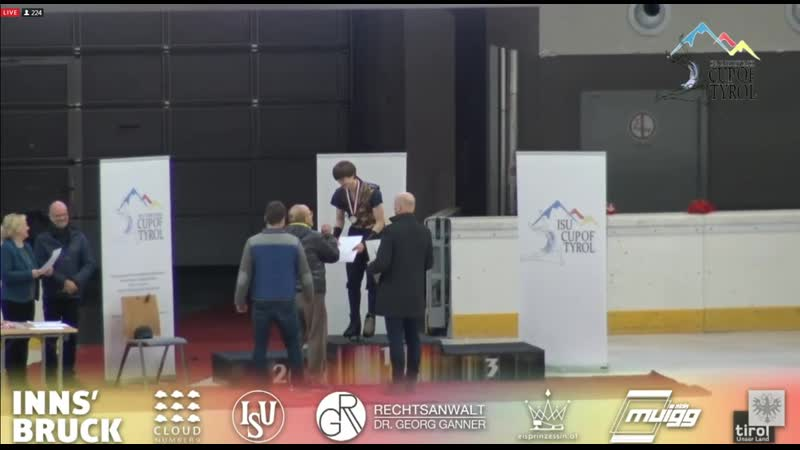 Deniss Medal ceremony Cup of Tyrol-Innsb