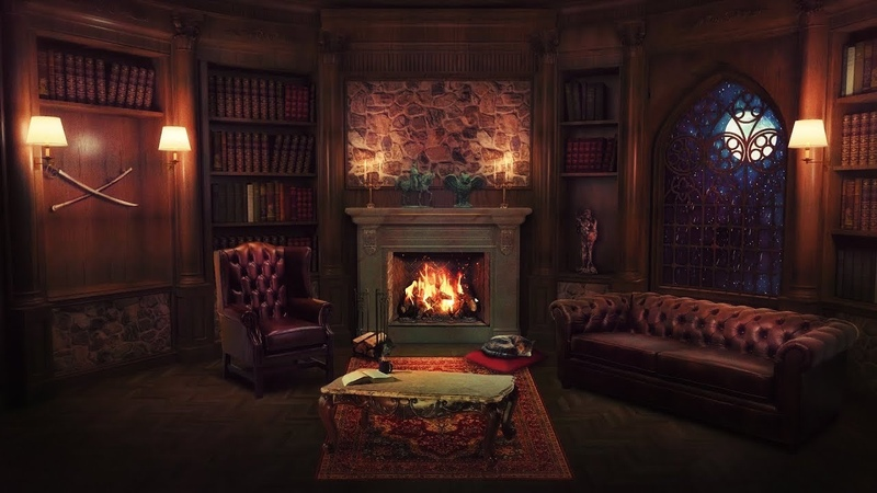 Library at Night - Fireplace Sound, Rain, Cat Purr, Study, Relax