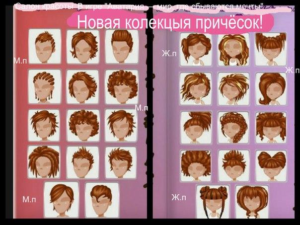 Прически парней в аватарии