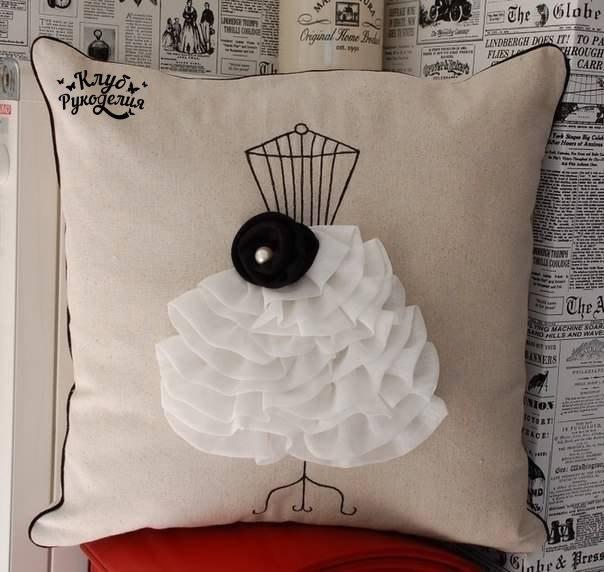 Идеи декора подушек. (6 фото) - картинка