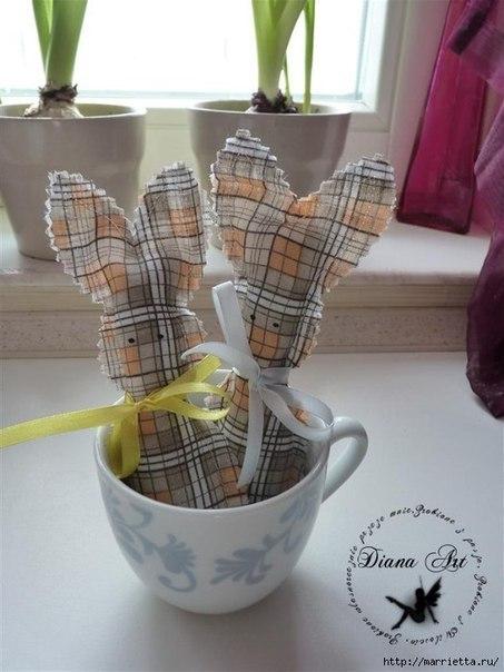 Чудесные пасхальные кролики из ткани. (8 фото) - картинка