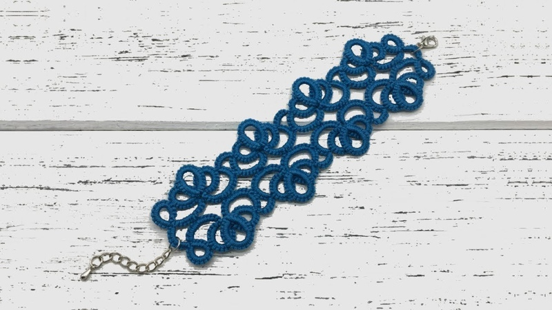 Needle tatting Wide lace bracelet choker Фриволите иглой Широкий кружевной браслет чокер