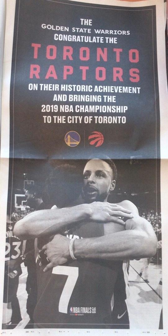 «Уорриорз» выкупили полосу в газете, чтобы поздравить «Рэпторс» с чемпионством