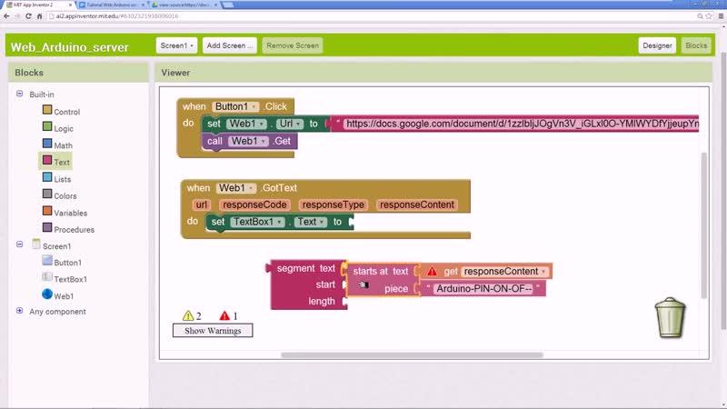 Arduino Android App Inventor Web server AI2 сервер Tutorial Ethernet Shield