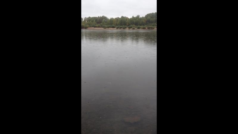 На берегу реки под дождиком
