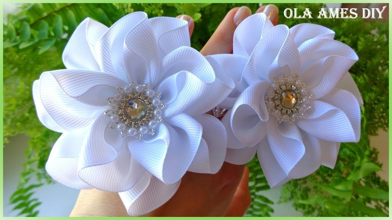 Канзаши Цветы из репсовой ленты Kanzashi Grosgrain Ribbon Flower Flores de fitas Ola ames DIY