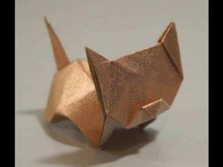 Кот из бумаги оригами , Origami , boomerang. КАК сделать КАта из бумаги.