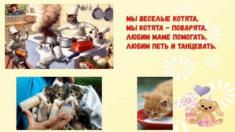 Мы веселые котята Мы котята поварята Детская песенка