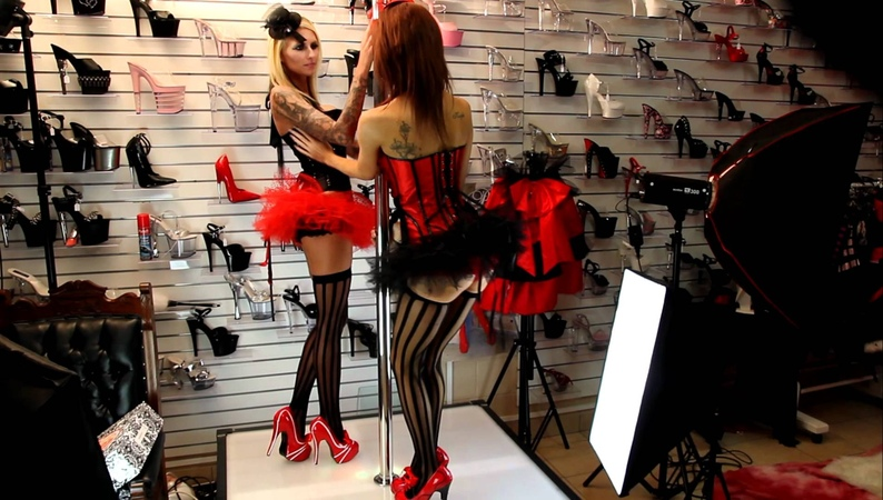 Shoes Of Hollywood Burlesque Line Stocking Girls
