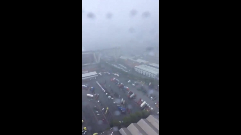 Air view of the bridge collapse this morning 14th August in Genoa Italy Thunderstorms wer