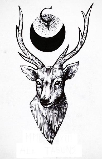 эскизы татуировок олень: