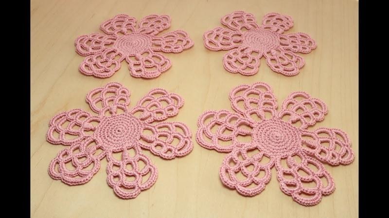 Вязание ЦВЕТОК с необычными лепестками мотив для ирландского кружева Crochet Flower irish lace