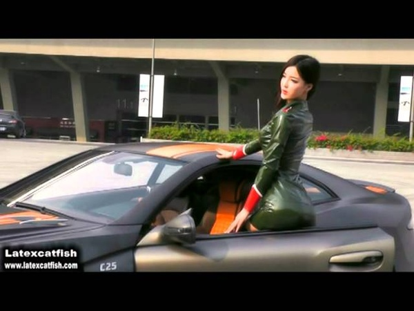 Latex Model (Miss Lee) with her new car.mpg