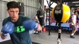 Тренировка Дмитрия Бивола на груше на растяжках в США. Подготовка к Чилембе.