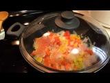 США,Мой ужин.Рыба с рисом и овощами в пароварке.